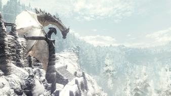 Mountains dragons the elder scrolls v: skyrim Wallpaper