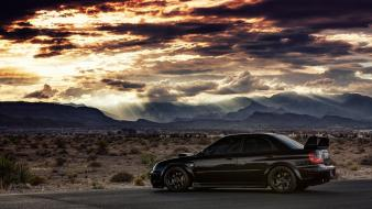 Mountains landscapes black subaru impreza skies sti wallpaper
