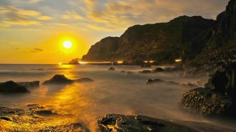 Mountains sun beach taiwan taipei wallpaper