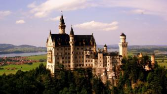Neuschwanstein castle architecture clouds trees Wallpaper