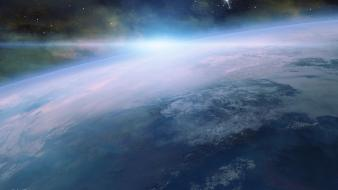Outer space earth digital art science fiction Wallpaper