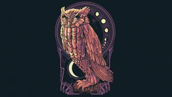 Owls art nouveau wallpaper