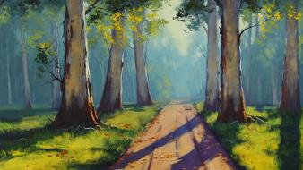 Paintings nature trees forest path sunlight wallpaper