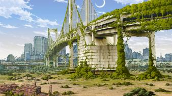 Ruins cityscapes abandoned city overgrowth Wallpaper