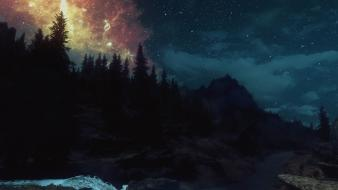 Scrolls v: skyrim night sky 3d wallpaper