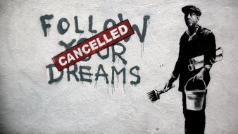Wall graffiti banksy cancelled wallpaper