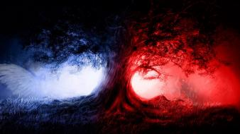 Wolves angel red and blue wallpaper
