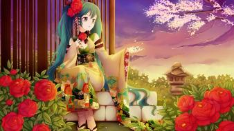 Aqua eyes hair yukata japanese clothes nardack wallpaper
