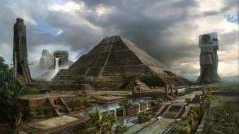 Architecture artwork waterfalls pyramids mayan wallpaper