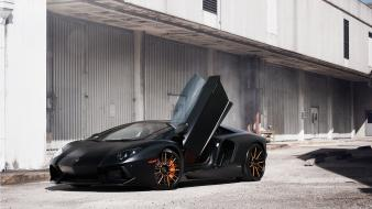 Black cars lamborghini aventador Wallpaper