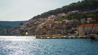 Boats croatia hillside bay mediterranean marine sea wallpaper