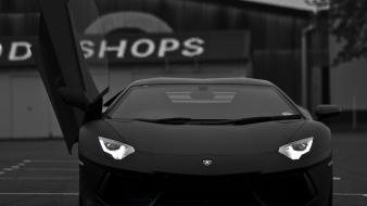 Cars grayscale parking headlights doors lamborghini aventador lp700-4 wallpaper