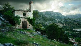 Clouds landscapes ruins storm stones europe spain Wallpaper