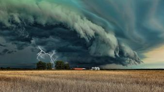 Clouds storm fields weather lightning wallpaper