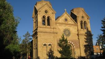 Downtown cathedral new mexico santa fe Wallpaper