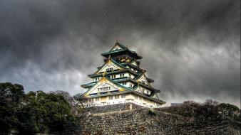 Japan castles storm osaka church skyscapes wallpaper