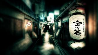 Japan streets lanterns kyoto wallpaper