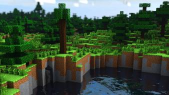 Landscapes trees forest minecraft cinema4d 3d wallpaper