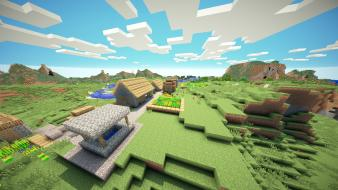 Landscapes world minecraft sunny game village shaders wallpaper