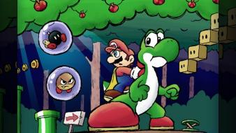 Mario super world bros. yoshi goomba bob-omb wallpaper