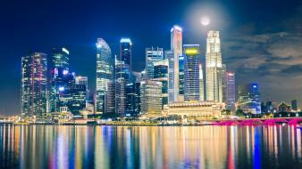 Moon singapore city lights skyline reflections citynight wallpaper