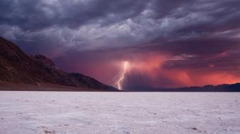 Mountains clouds landscapes beach storm lightning wallpaper