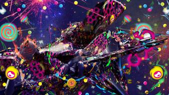 Multicolor psychedelic digital art creative wallpaper