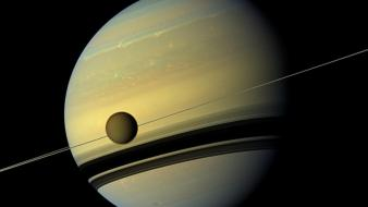 Outer space planets rings saturn moons wallpaper