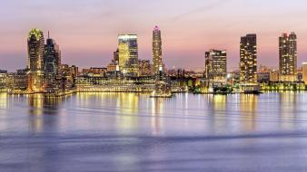 Panorama skyline rivers new jersey hudson river wallpaper