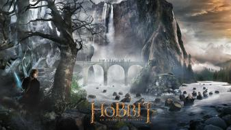 Posters waterfalls rivers bilbo baggins swords barrels wallpaper