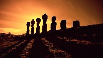 Silhouette shadows sunlight statues easter island moai wallpaper