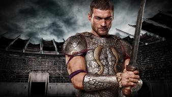 Spartacus gladiator swords andy whitfield armour tv shows wallpaper