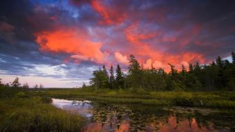 Sunset clouds trees rocky nova scotia lakeview wallpaper