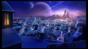 Surreal fantasy art town rooftops skies village wallpaper