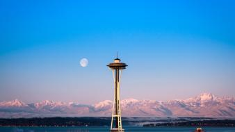 Usa hdr photography washington space needle skies wallpaper