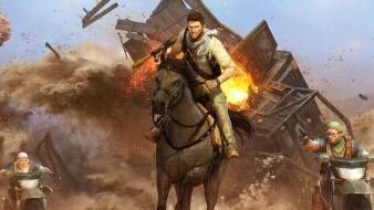 Video games horses uncharted 3 car crash wallpaper