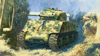 War military sherman tanks artwork wallpaper