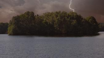 Water landscapes forest storm lakes lightning wallpaper