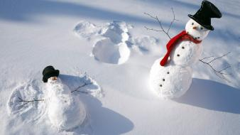 Winter snow snowmen scarfs angels wallpaper