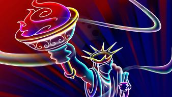 Abstract statue of liberty digital art wallpaper