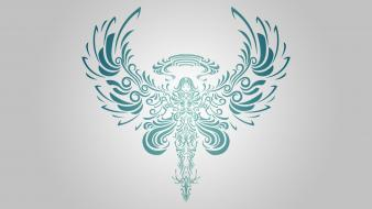 Angels artwork simplistic simple background wallpaper