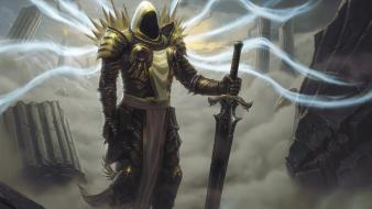 Art armor tyrael artwork diablo ii swords wallpaper