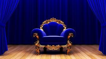 Blue couch studio king armchair wallpaper
