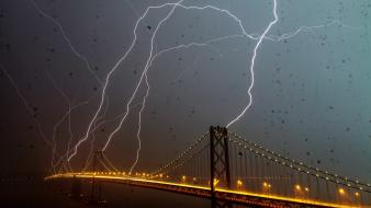 Bridges san francisco bay bridge lightning bolts wallpaper