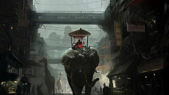 Cityscapes signs fantasy art artwork elephants overcast giraffes Wallpaper