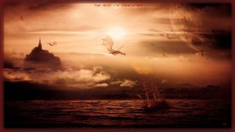 Clouds sun dragons ships rise skies wallpaper