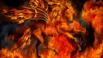 Flames fantasy fire horses pegasus wallpaper