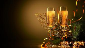 Glasses new year champagne Wallpaper
