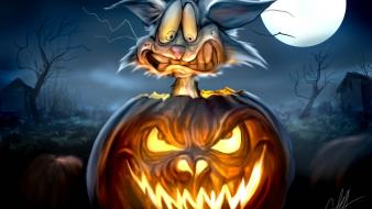 Halloween moon rabbits pumpkins wallpaper