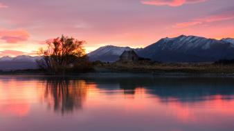 Landscapes nature calm new zealand lakes reflections Wallpaper